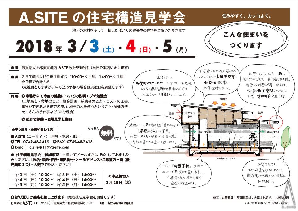 A.SITEの住宅構造見学会 20180303-05